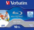 BD-R BluRay x6 50GB Verbatim Dual Layer Printable Jewel Case*10